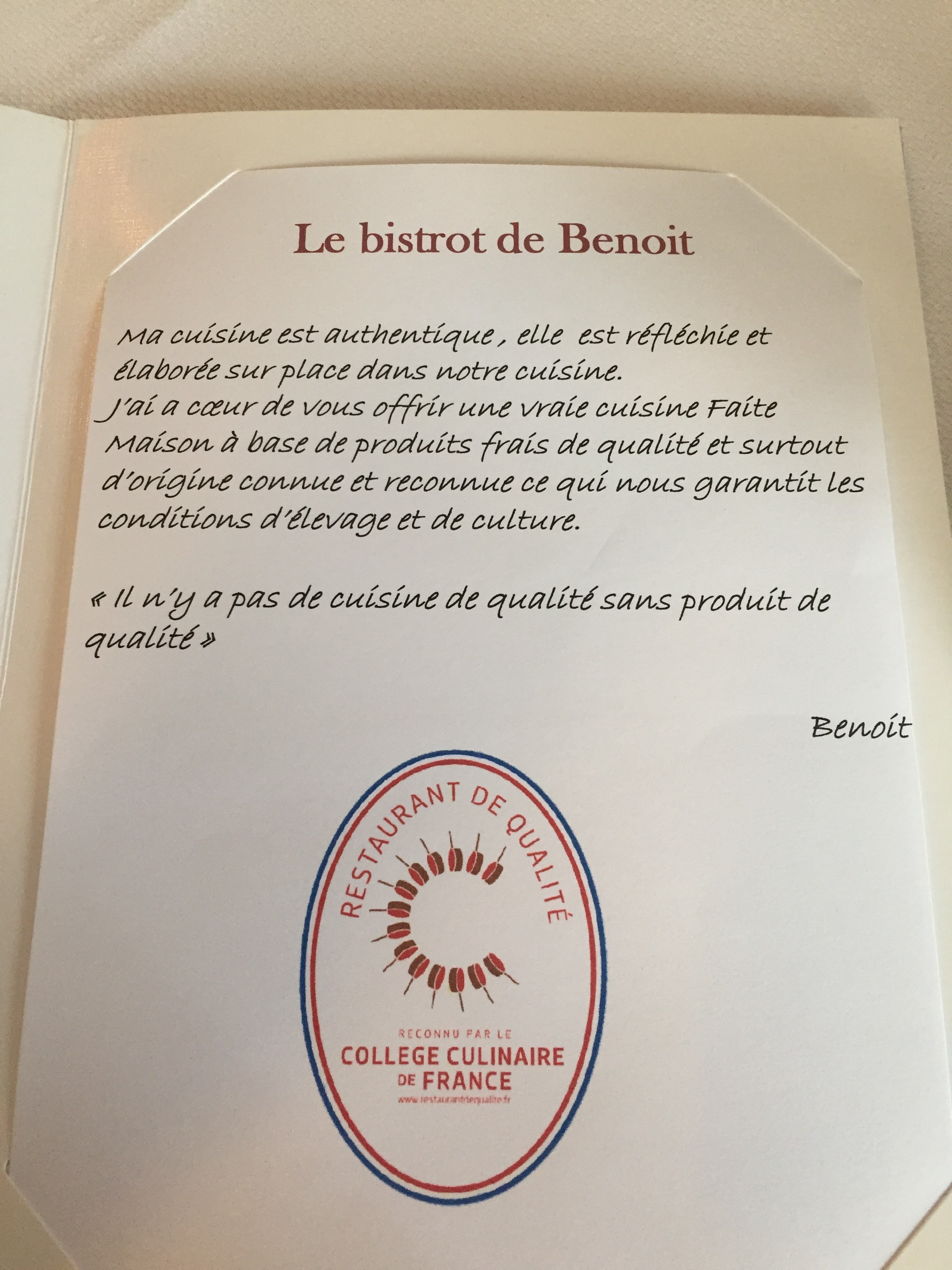 Adhérent LE BISTROT DE BENOIT - photo #7527